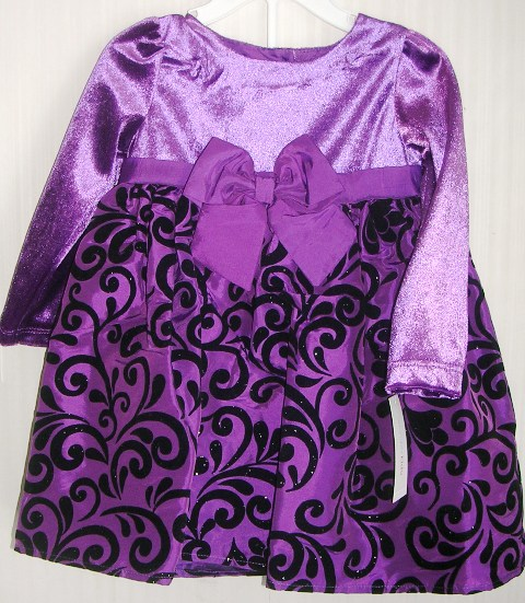 Christmas Holiday Dress Purple Velvet 12 Months
