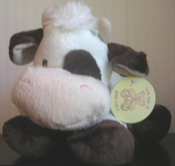 Skm Plush Cow Rattle White Brown #88118