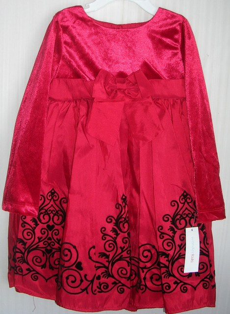 Wonderkids Red and Black Velvet Dress 3T