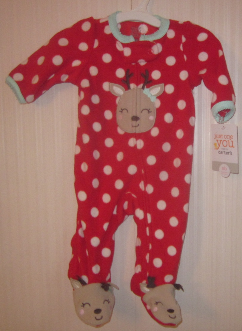 Newborn Girl's Reindeer Footed One Piece