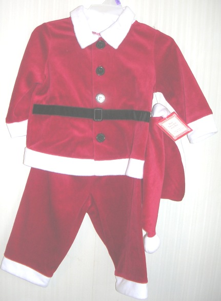 Boys Santa Suit with Hat 3 piece 0-3 months