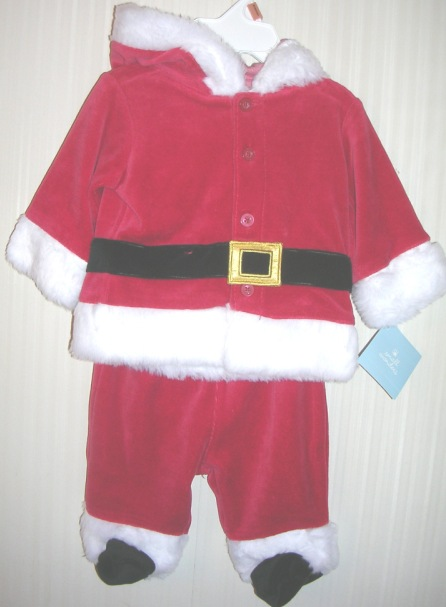 Boys Christmas Holiday Santa Suit Hooded 0-3 months