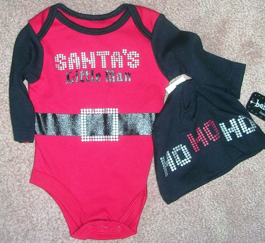 Christmas Boys Creeper Set Onepiece Santa's Little Man Newborn