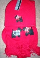 Womens Red Scarf and Hat Set with Dog