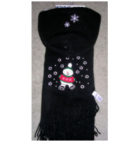 Womens Snowman Black Scarf and Hat Set