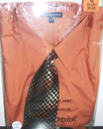 Knightsbridge Mens Rust Dress Shirt and Tie Set