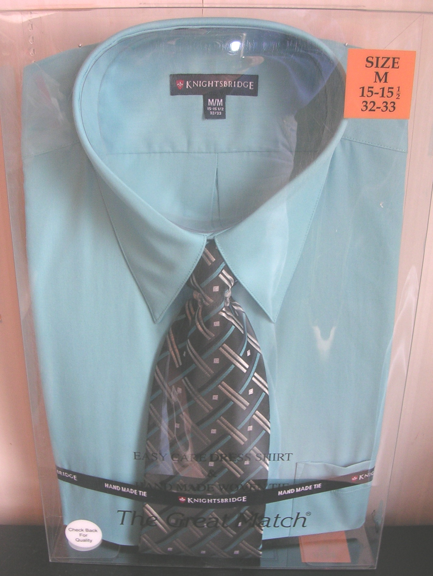 Knightsbridge Mens Dress Shirt and Tie Set Light Sky Blue