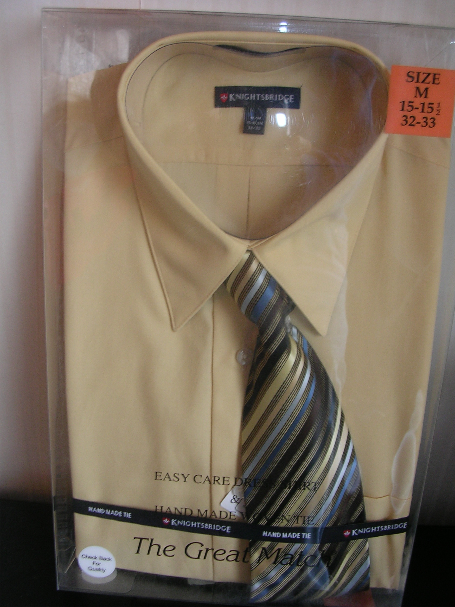 Knightsbridge Mens Dress Shirt and Tie Set Tan