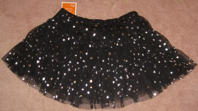 Black Tulle Skirt with Stars Large 10/12