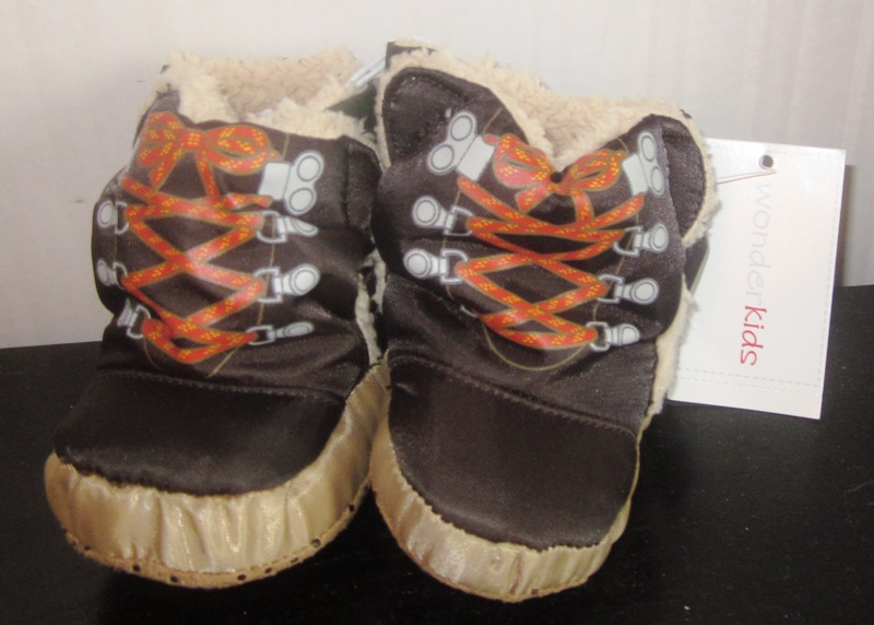 Wonderkids Baby Boy Ashton Hiker Brown Velcro Slippers Booties 4
