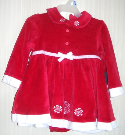 Holiday Christmas Party Dress Red Velour Faded Glory 3-6 months