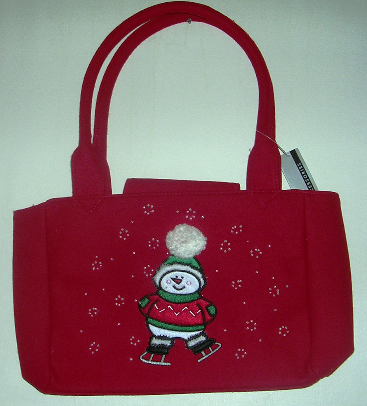 Pocketbook Handbag Purse Snowman On Skates Red