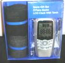 Mens Socks LCD Clock With Torch Gift Set