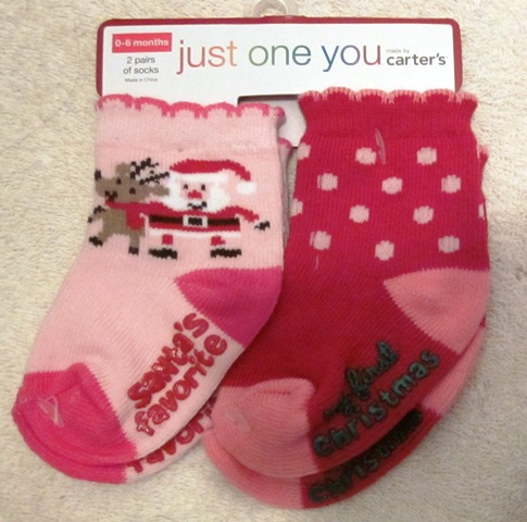 Carter's Just One You Christmas Socks First Christmas 0-6 months