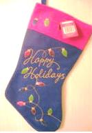 Christmas Stocking Happy Holidays String of Lights