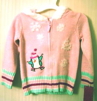 Girls Zippered Hooded Sweater 2T Months Penguin