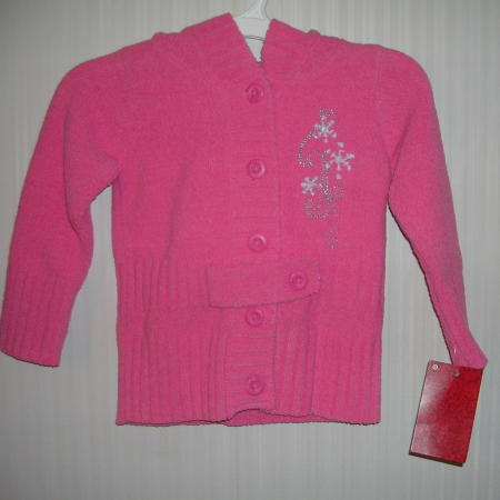 Girls Button Hooded Sweater 12 Months Pink