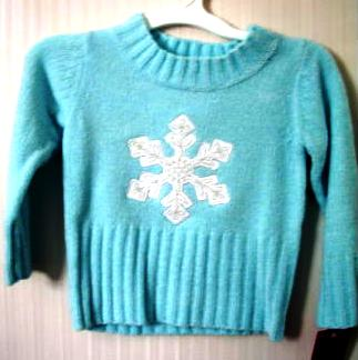 Girls Sweater Mock Pullover Aqua Snowflake 12 Months
