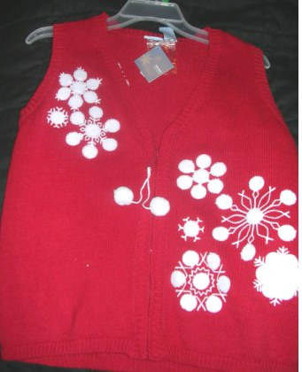Snowflakes Red Ugly Tacky Christmas Sweater Vest Womens Small