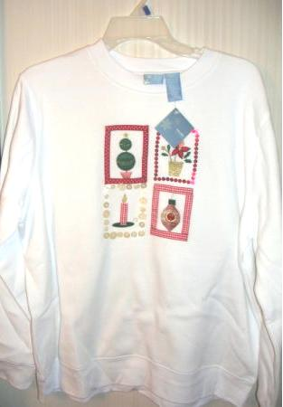 Christmas Womens Sweatshirt White Embroidered Large