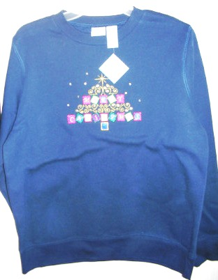 Christmas Womens Sweatshirt Blue Embroidered 2X