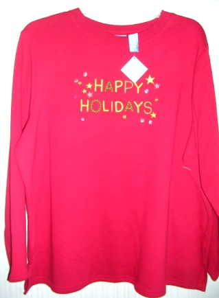 Christmas Womens Happy Holidays Sweatshirt Red 2X