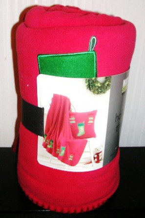 Martha Stewart Holiday Throw Blanket Red Stockings Fleece 50X60